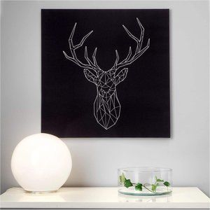 Ikea Pjatteryd Picture - Silver Deer Embroidered